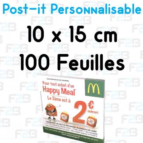 Post-it Personnalisé 10x15cm 100 feuilles Marque Fabrik2blocs